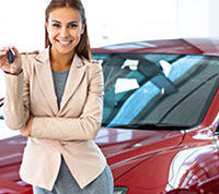 car loans thumbnail red car saleswoman short